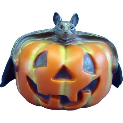 Halloween Figuren Kürbis mit Fledermaus, beleuchtet